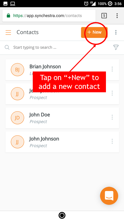 Tap on +New to add a new contact