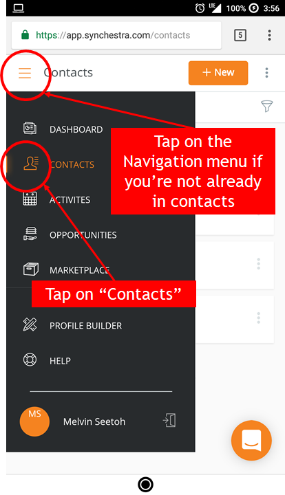 Accessing contacts